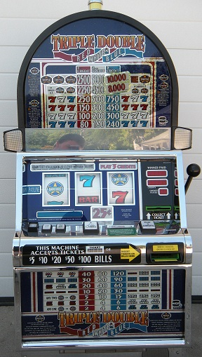 white and blue slot machine